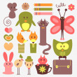 Funny animals and cute scrapbook elements set — Stock Vector