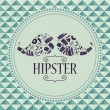 Hipster card mustache with various clothing and accessories — Stock Vector