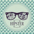 Hipster card glasses with various clothing and accessories — Stock Vector