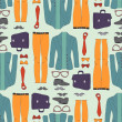 Stock Vector: Seamless pattern with hipster clothing