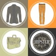 Stock Vector: Hipster clothes decorative set