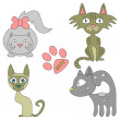 Set of four lovely cats — Stock Vector