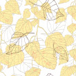 Decorative seamless pattern with birch leaves — Stock vektor