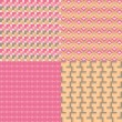 Four cute geometric seamless patterns — Imagen vectorial