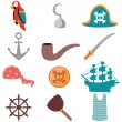 Set of various pirate icons — Stock Vector