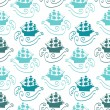 Seamless pattern with ships in the sea — Stockvectorbeeld