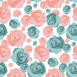 Seamless pattern with beautiful roses — Stock Vector