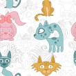 Seamless pattern with lovely cats — Stock Vector #28529237