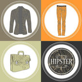 Hipster clothes decorative set — Stock Vector
