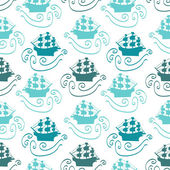 Seamless pattern with ships in the sea — Stock Vector