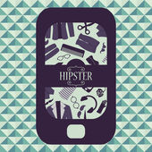 Hipster card mobile phone with various clothing and accessories — Stock Vector