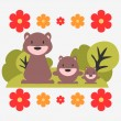 Illustration of three cute bears — Stock Vector