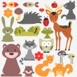 Stock Vector: Set of cute wild animals