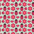 Cute seamless pattern with flowers and ladybugs — Stock Vector