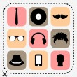 Stock Vector: Set of stylish hipster icons