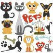 Stock Vector: Set of cute little pets cats and dogs