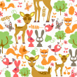 Cute childish seamless pattern with wild animals — Stock Vector
