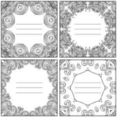 Set of four decorative ornamental lace frames — Stock Vector