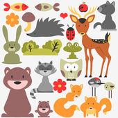 Set of cute wild animals — Stock Vector