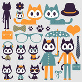 Set of cute funny stylish kittens — Stock Vector