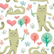 Seamless pattern with lovely cats — Stock Vector