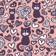 Romantic drawings of hearts and cats seamless pattern — Stock Vector