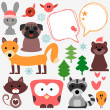 Set of cute animals and birds — ベクター素材ストック