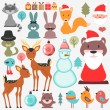 Stock Vector: Cute various elements set Christmas theme