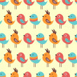 Seamless pattern with lovely birds — Stock Vector