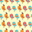 Seamless pattern with lovely birds — Stockvectorbeeld