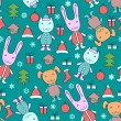 Cute Christmas pattern with animals — Stock Vector
