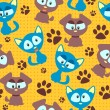 Seamless pattern with cute kittens and puppies — Stock Vector