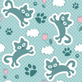 Cute seamless pattern with floating kittens — Stock Vector