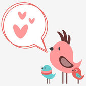 Cute birds singing love songs — Stock Vector