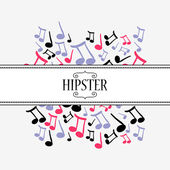 Hipster decorative card music theme — Stock Vector