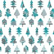 Seamless pattern with blue Christmas trees — Vettoriali Stock