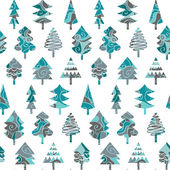 Seamless pattern with blue Christmas trees — Stock Vector