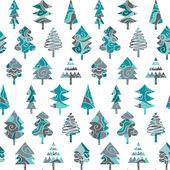 无缝模式与蓝色圣诞树 — 图库矢量图片
