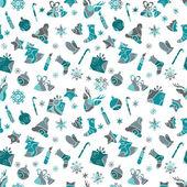 蓝色圣诞无缝图案设计 — 图库矢量图片