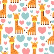 Stock Vector: Lovely giraffe cute seamless pattern