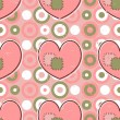 Cute pink seamless pattern with hearts — Stok Vektör