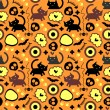 Halloween seamless pattern with cats — Stock Vector