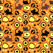 Halloween seamless pattern with cats — Imagen vectorial