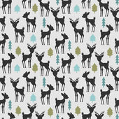 Seamless pattern with deer and trees — Stock Vector