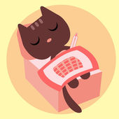 Ill kitty lying in bed with thermometer — Stock Vector