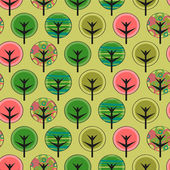 Seamless pattern with various trees — Stock Vector