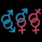różne orientacje seksualne trzech ikon — Wektor stockowy