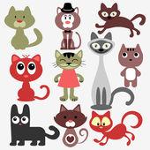 Set of various cute cats — Stock Vector