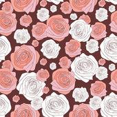 无缝模式与美丽的玫瑰 — 图库矢量图片