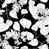 Monochrome seamless pattern with leaves — Stock Vector